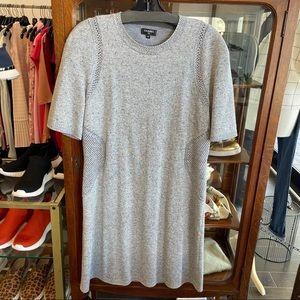 Chanel Short Sleeve Knit Shift Dress Silver